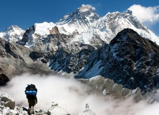 View of Everest from Gokyo with tourist on the way to Everest - Nepal.